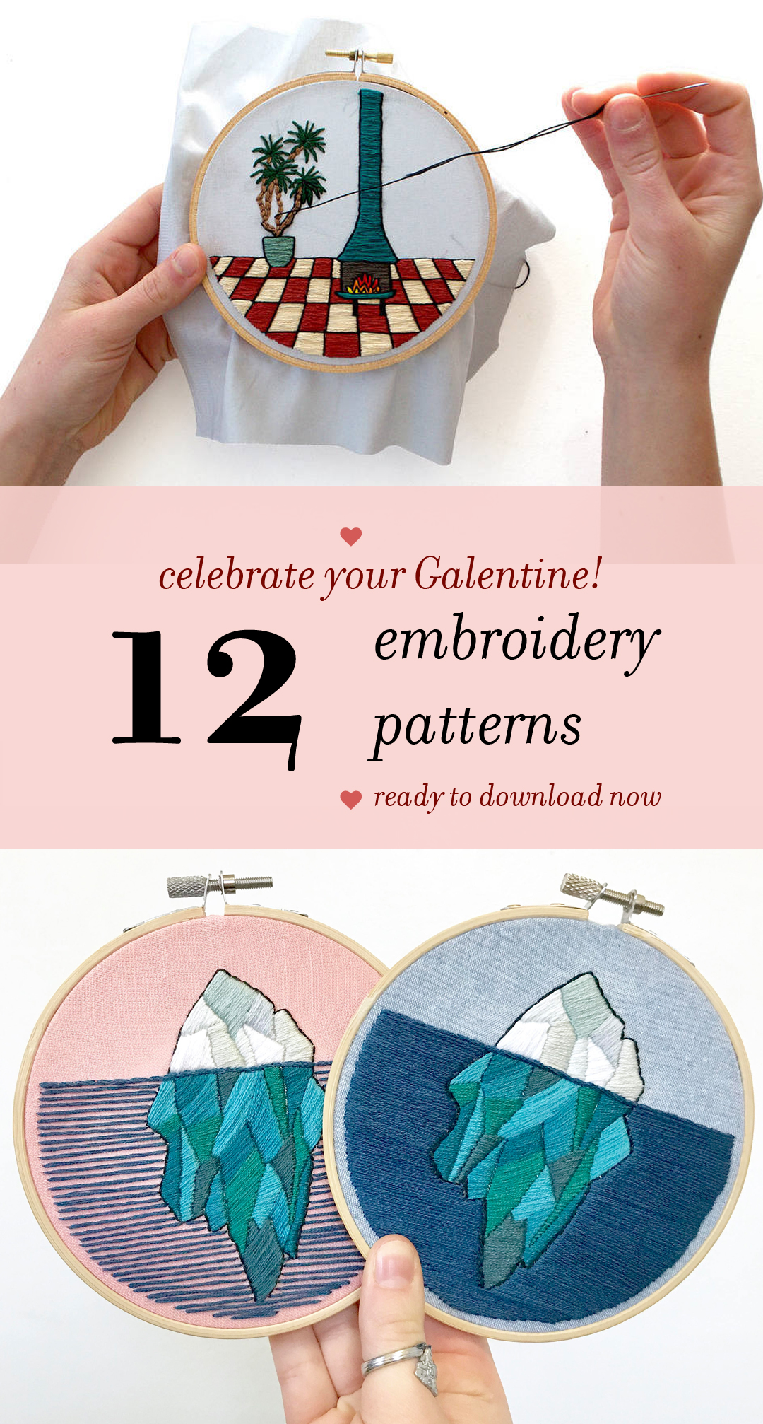 Embroidery patterns to gift on Galentine's Day