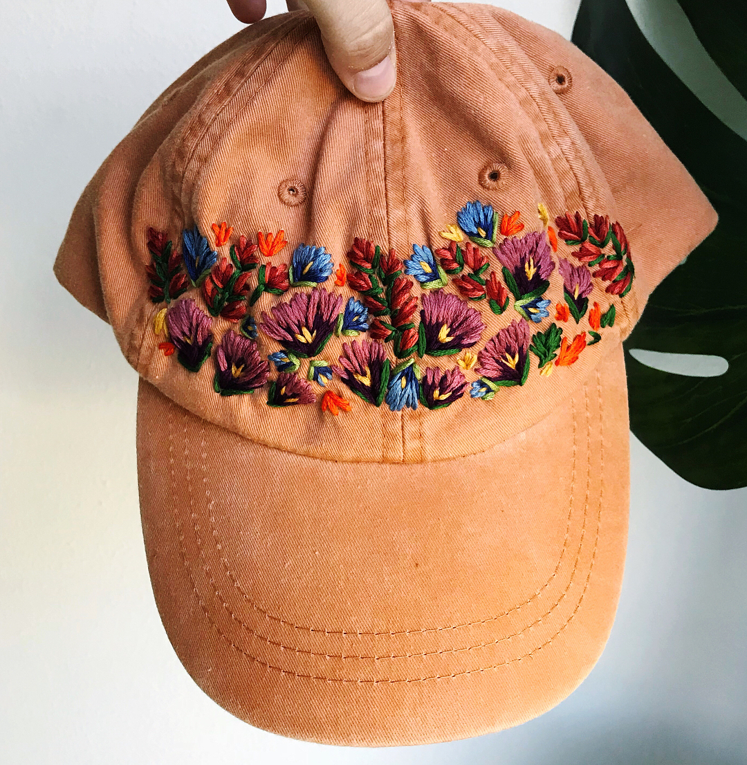 Embroidered hats adorned in beautiful blooms by lexi mire