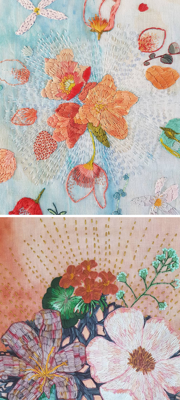 Stitched embroidery paintings by Fleur Woods