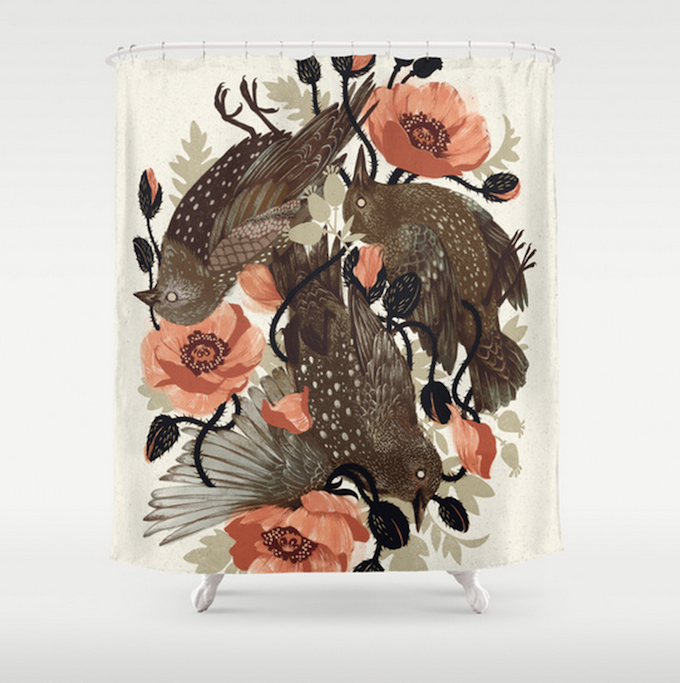 Illustrative Shower Curtains Available on Society6