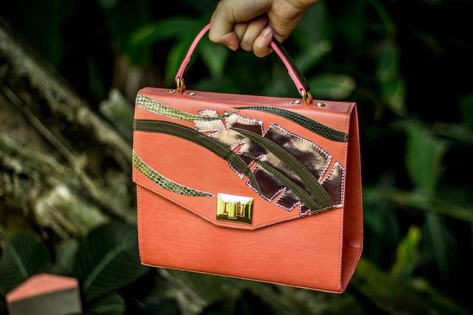 Limited edition black sienna leather floral applique bag