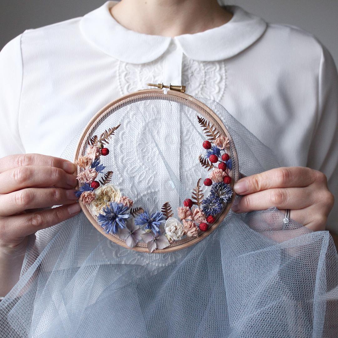 Olga Prinku floral wreath weavings