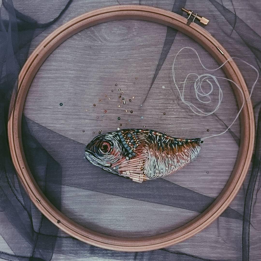 Aquarium Pisces Craftily creative Hand embroidery DIY Hoop Art Bordado Aqu\u00e1rio Peixe Gift idea Fish Bowl Embroidery Kit