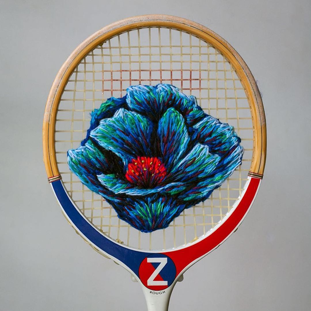 Unique Hand Embroidery Transform Rackets Into Frames For Flowers