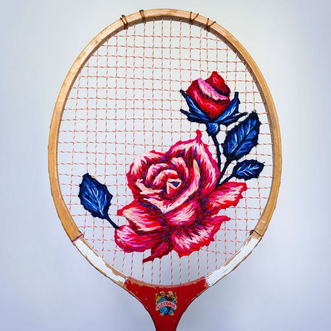 Unique Hand Embroidery Transform Rackets Into Frames For