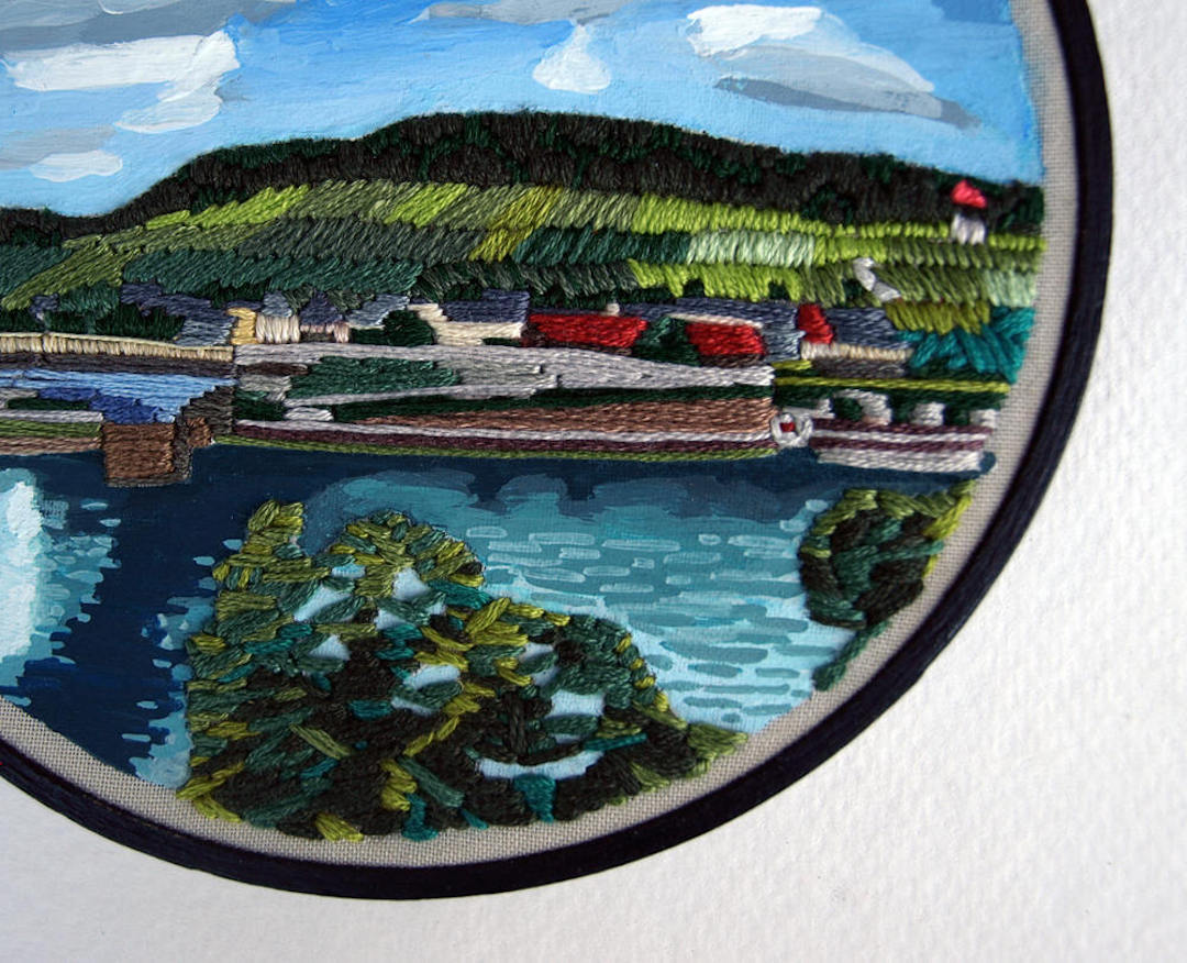 mixed media embroidery is a unique take on travel memories