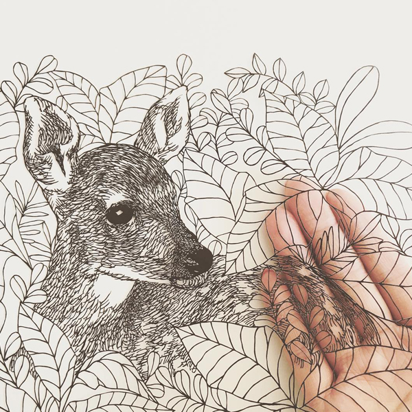 Paper Cutouts That Look Like Pen Drawings by Kanako Abe