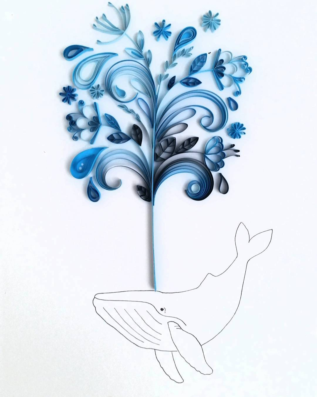 Quilling Line Art : Paper quilling bursts from delicate line drawings by