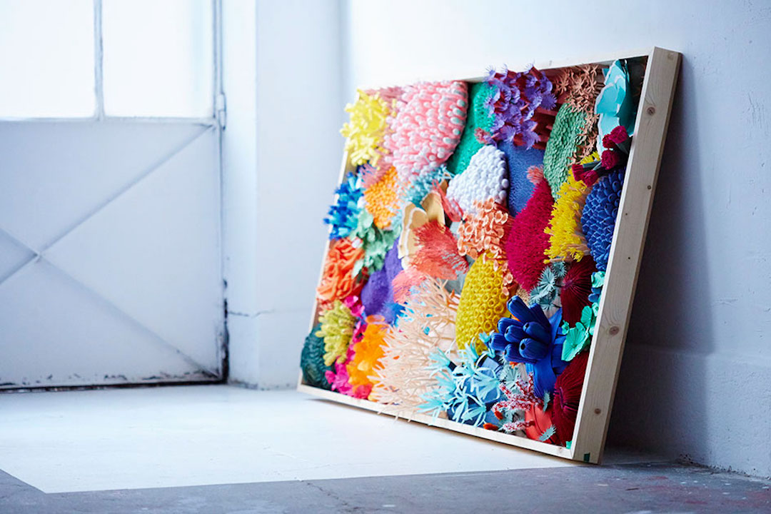 cut paper sculpture is a colorful way to make a coral reef