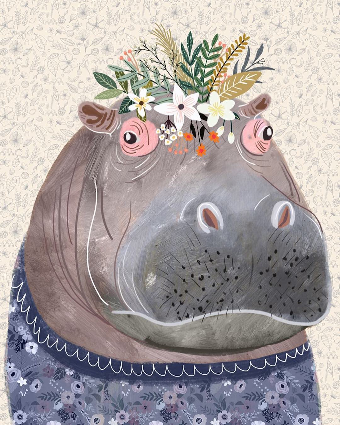 delightful illustrations of animals wearing flower crowns