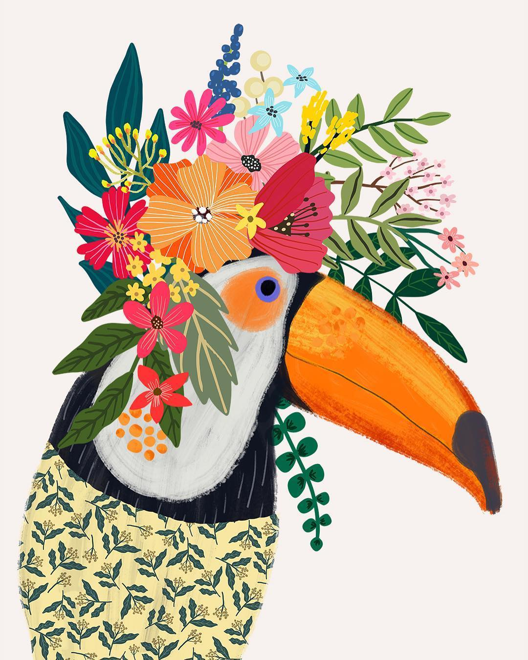 Animal wearing flower crowns illustrated by Mia Charo