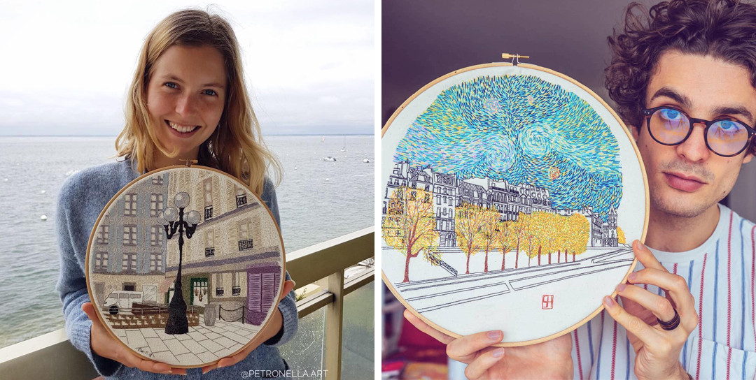 Travel embroidery by Elin Petronella and Charles Henry