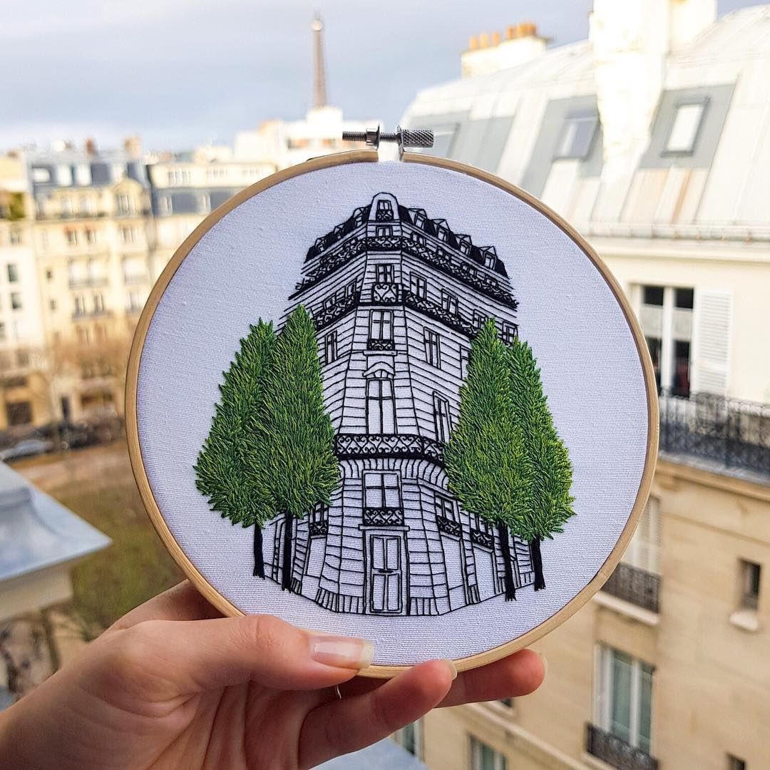 Architecture embroidery by Elin Petronella