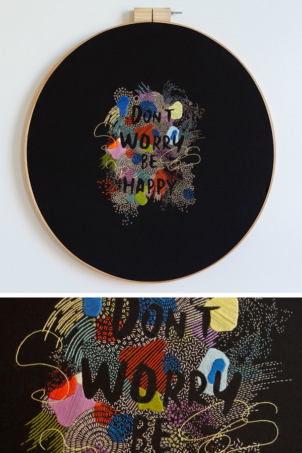 Embroidered typography by Maricor/Maricar