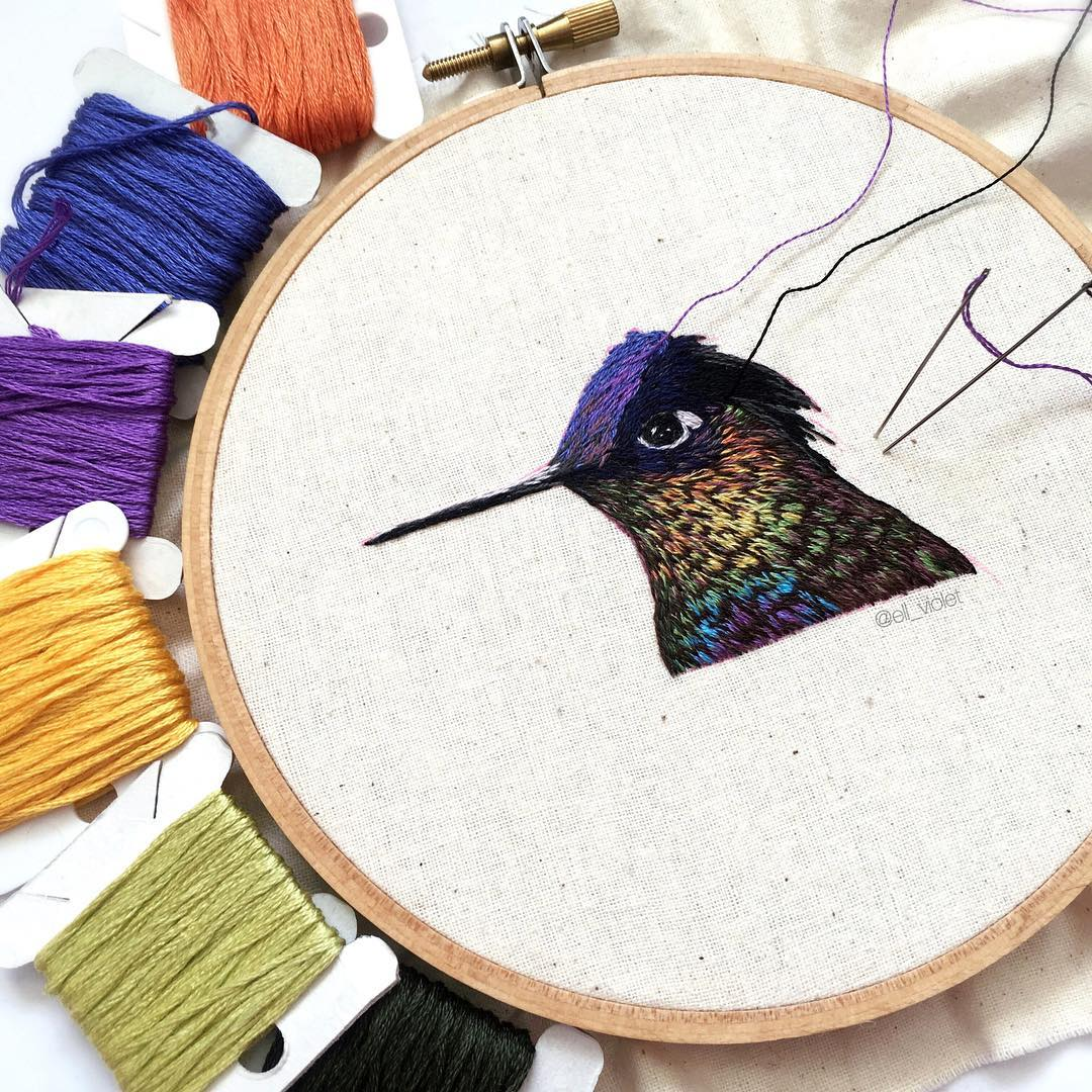 Bird embroidery by Ell Violet