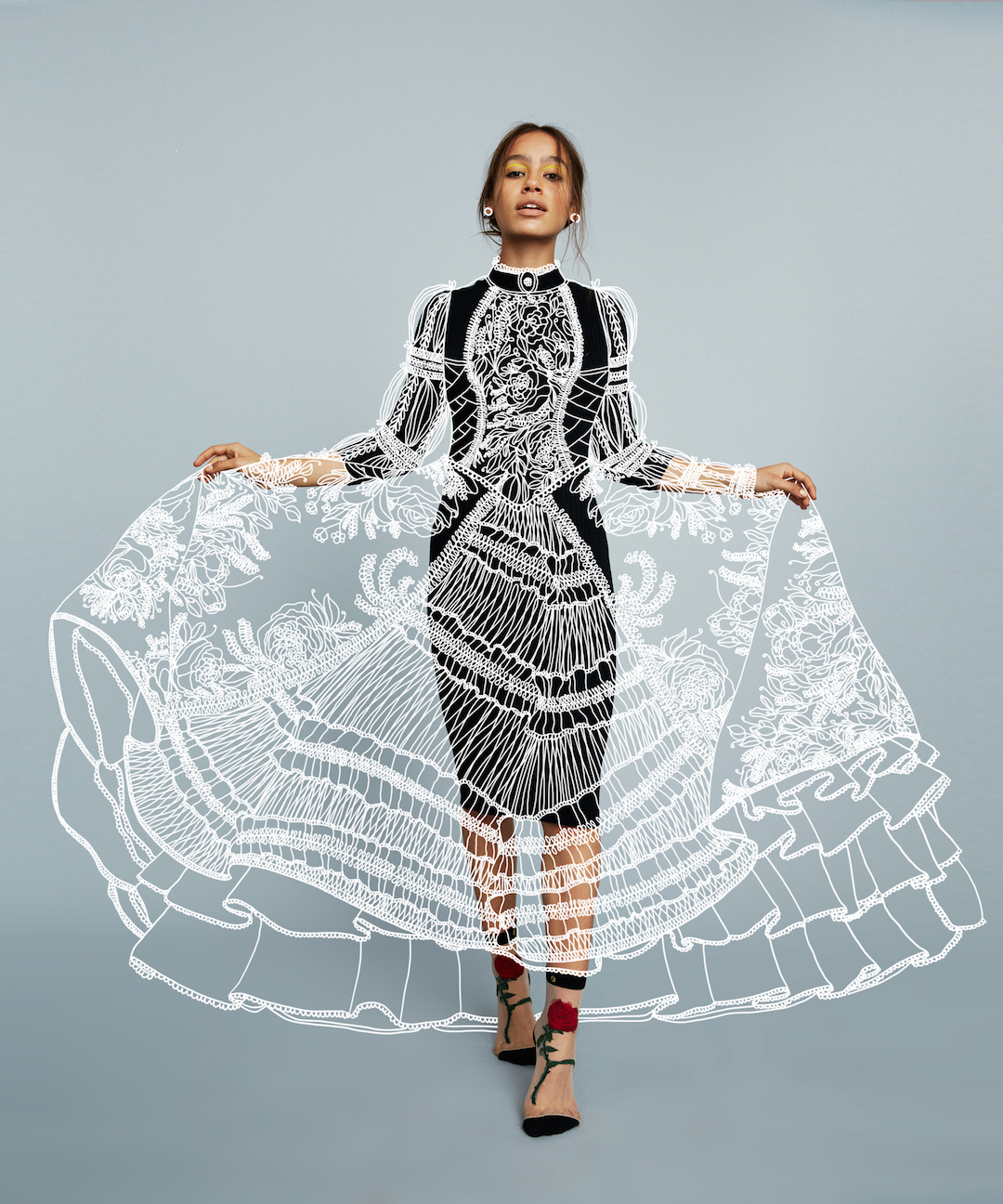 Vector doodles on fashion photos by Dr. Propolus