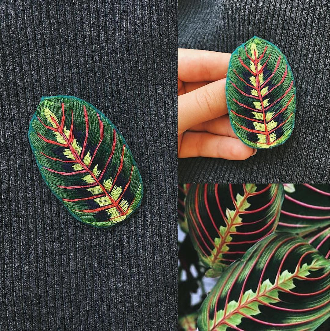 Embroidered brooch by Fistashka Art