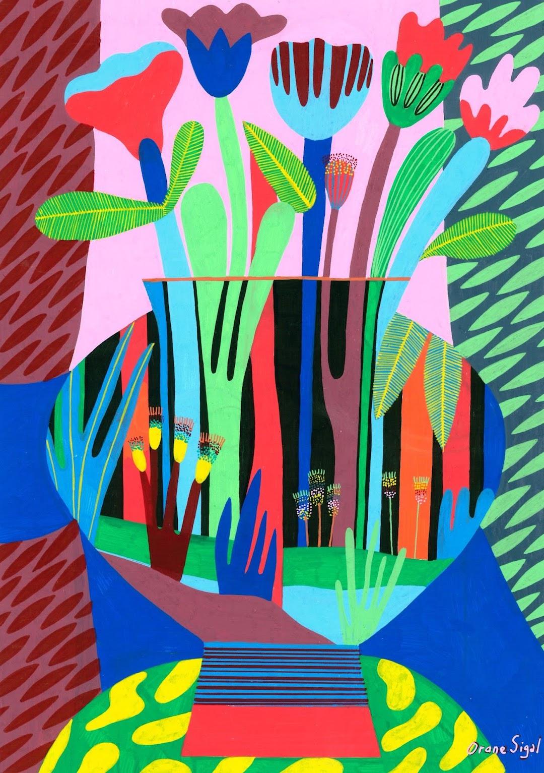 Vibrant color palette jungle illustration by Orane Sigal