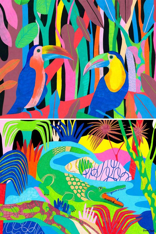 Vibrant color palette jungle illustrations by Orane Sigal