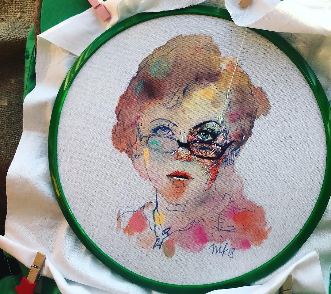 Embroidery and painting by Taisiya Kovali