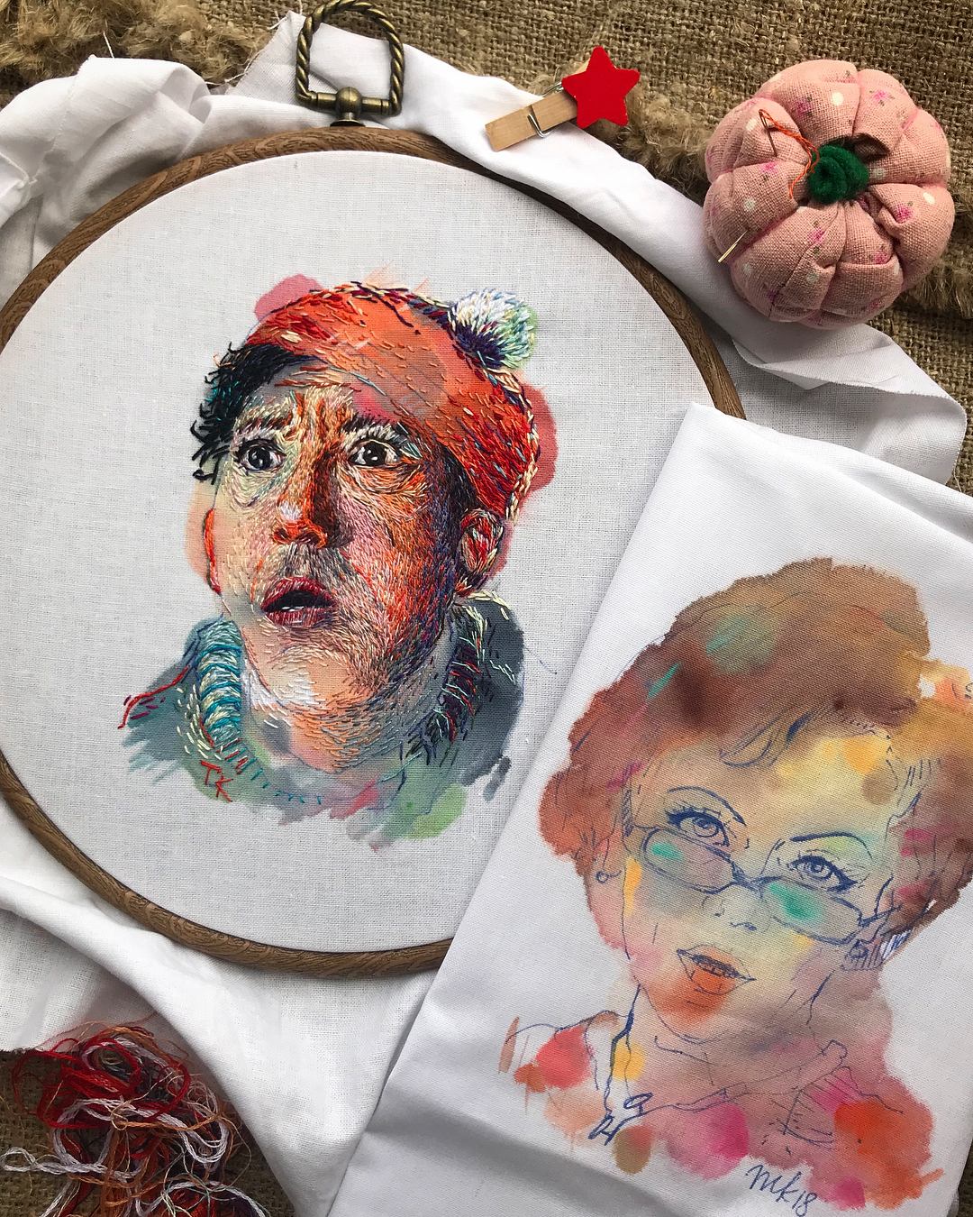 Embroidery Stitched Atop Carefree Watercolor Washes is Portraiture Reimagined