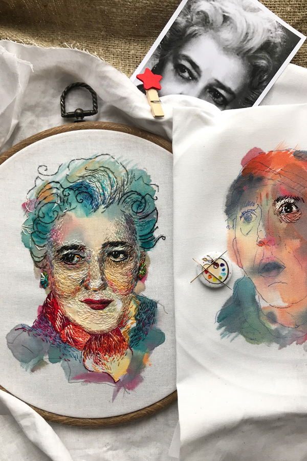 Watercolor painting and embroidery by Taisiya Kovali