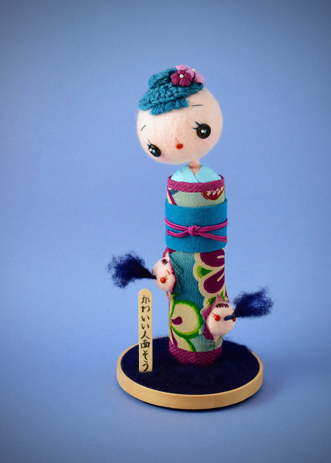 "Needle felted ""Occult Kokeshi"" doll by Hiné Mizushima"