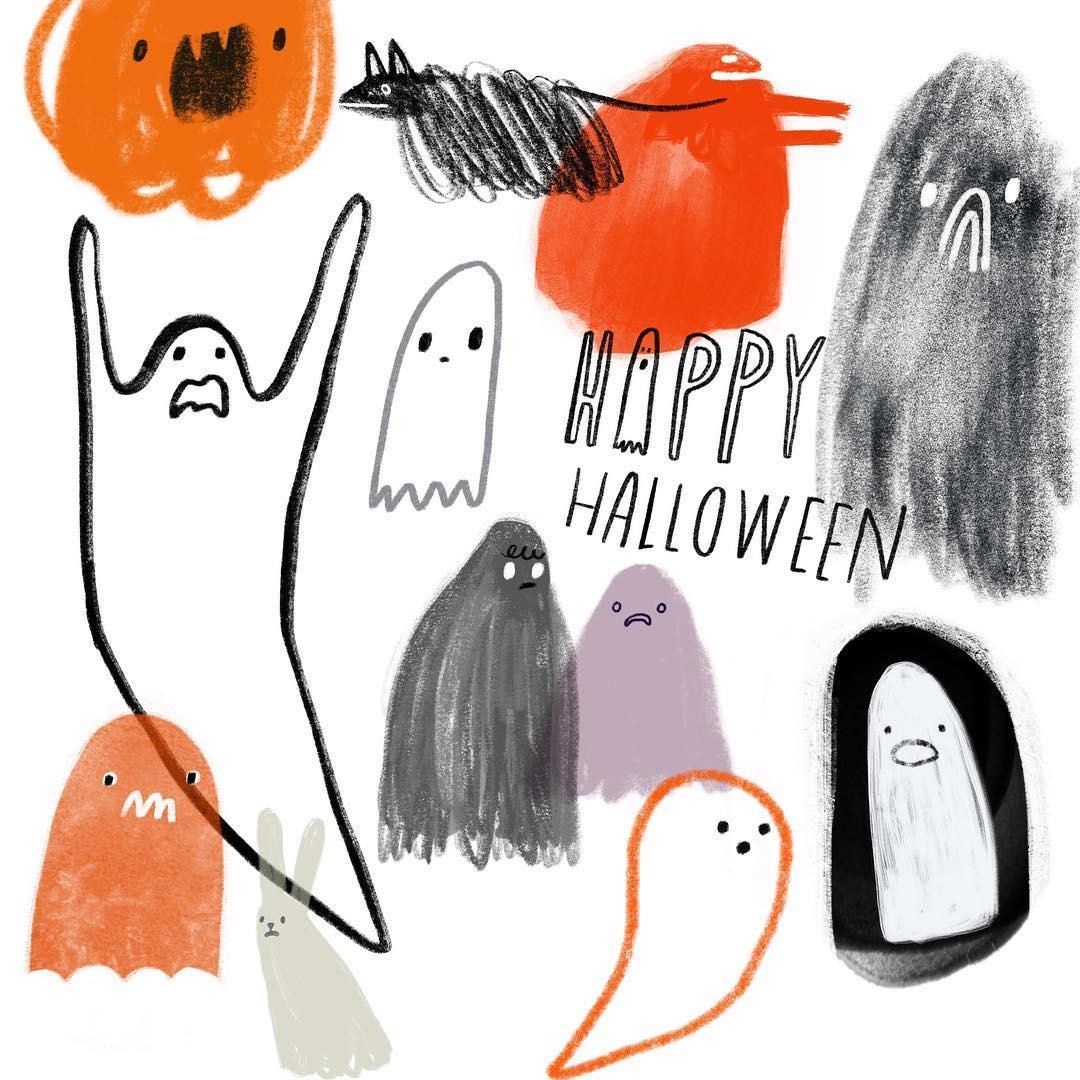 Halloween illustrations by Katie Vernon
