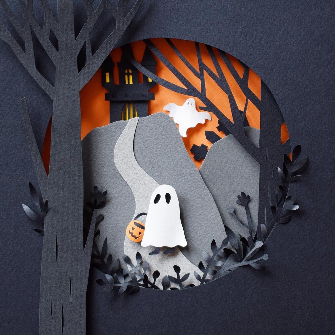 Cut paper Halloween illustration by Margaret Scrinkl