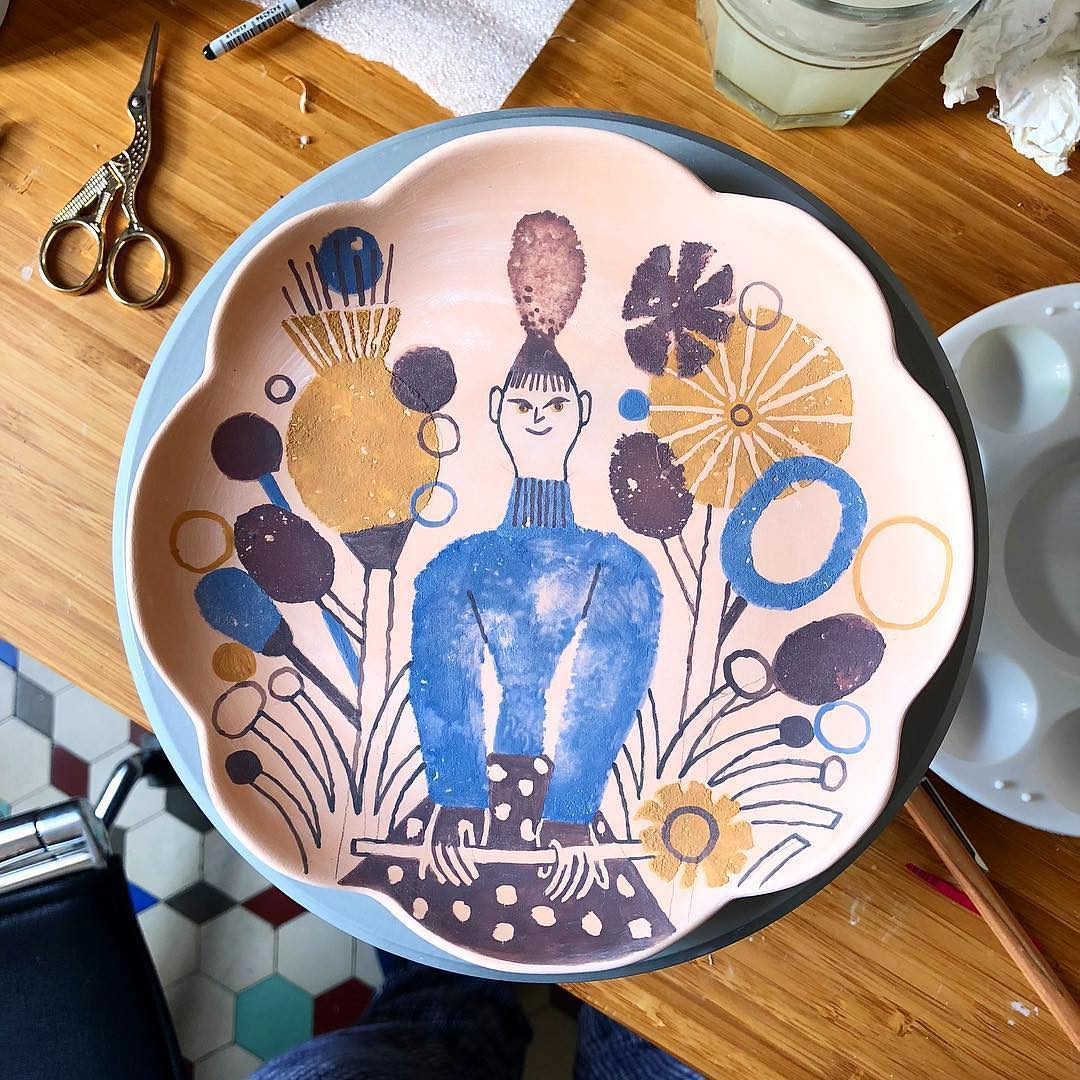 Illustrated ceramic plate by Malota