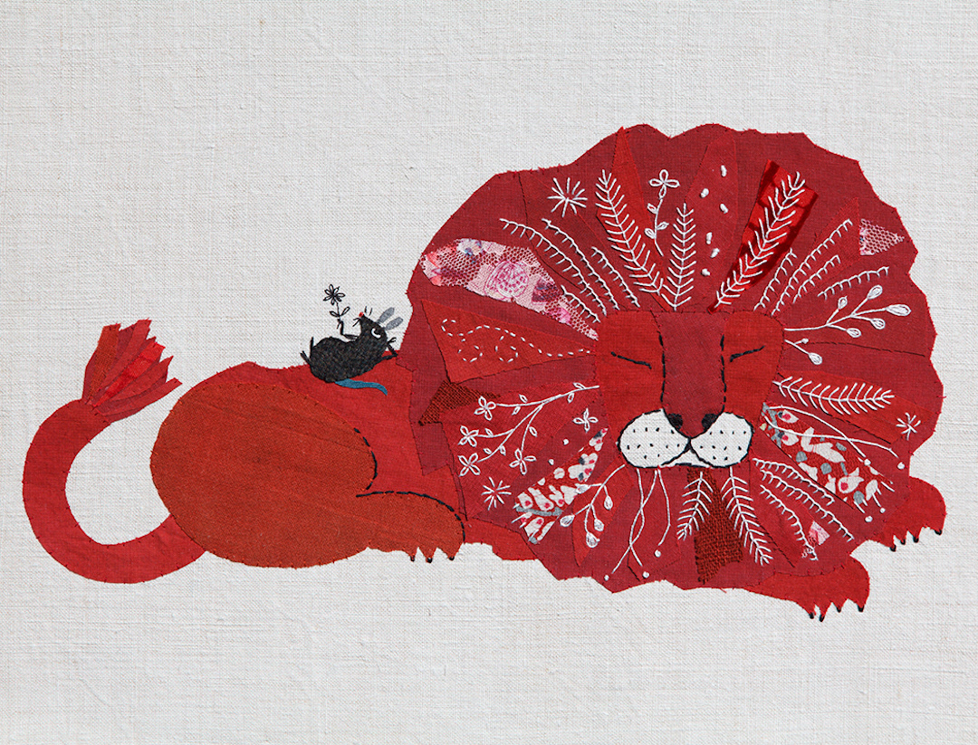 Hand appliqué offers a contemporary retelling of classic tales
