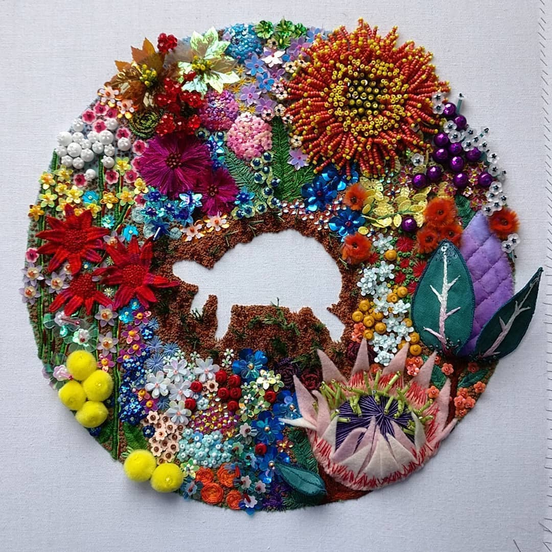 Hand embroidery and beading by Katie Tume