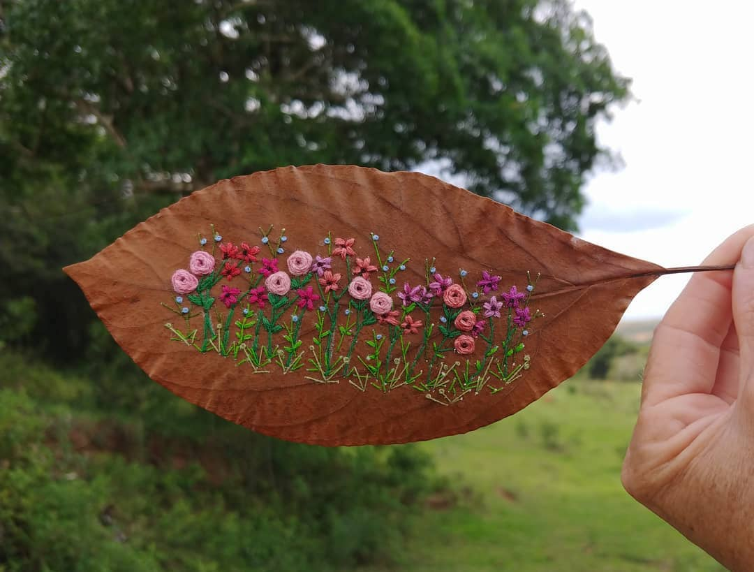 Artist Brings Brittle Nature Back to Life with Embroidery on Leaves