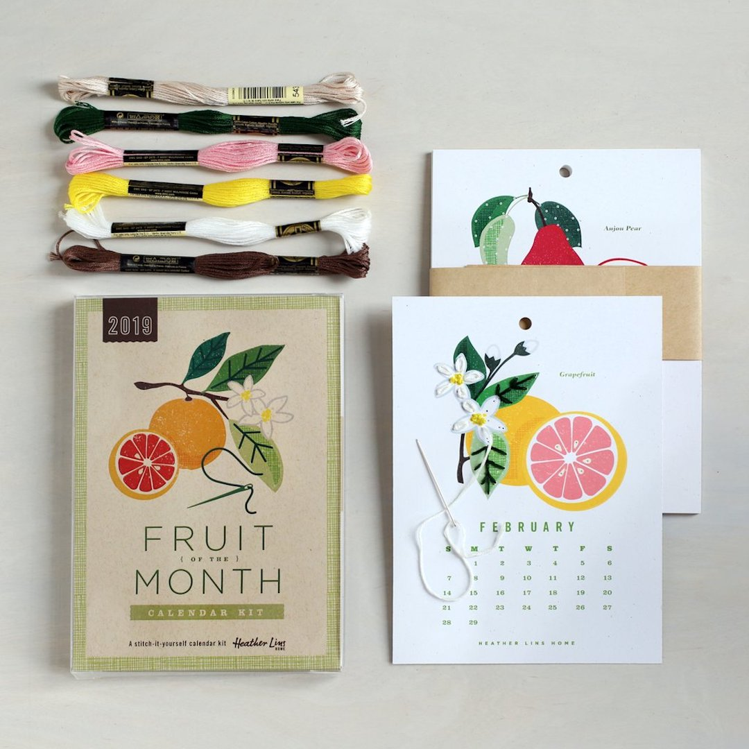 Stitched calendar embroidery kit