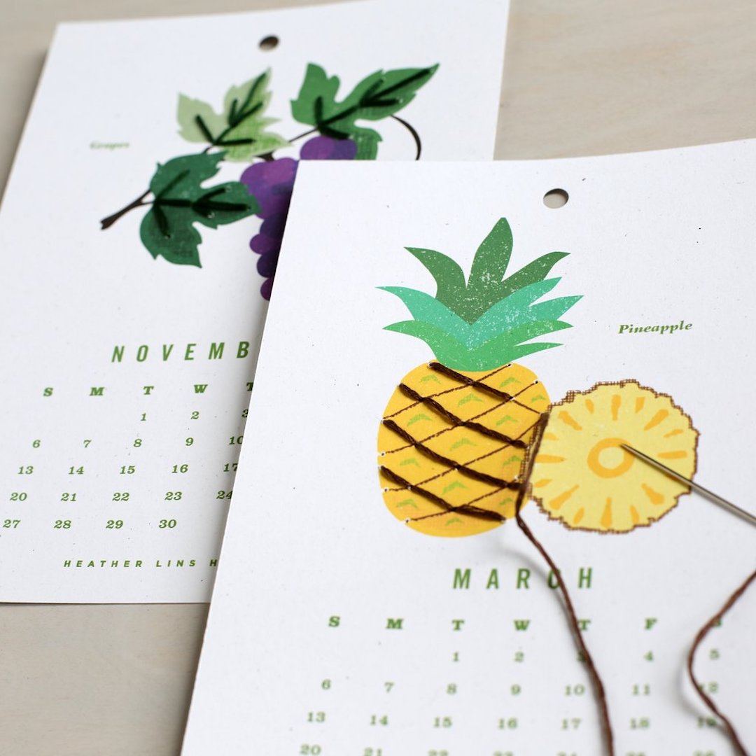 Calendar embroidery kit