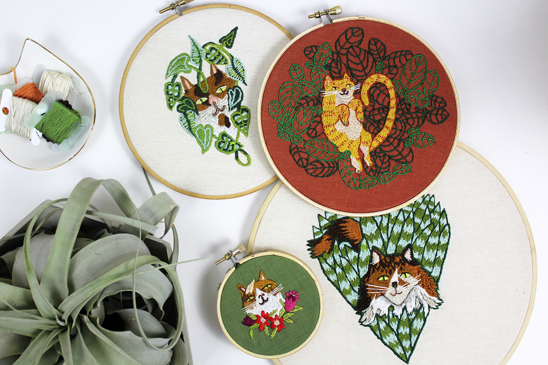 Curious Cats Who Love Plants Live the Dream in These Hand-Stitched Embroideries