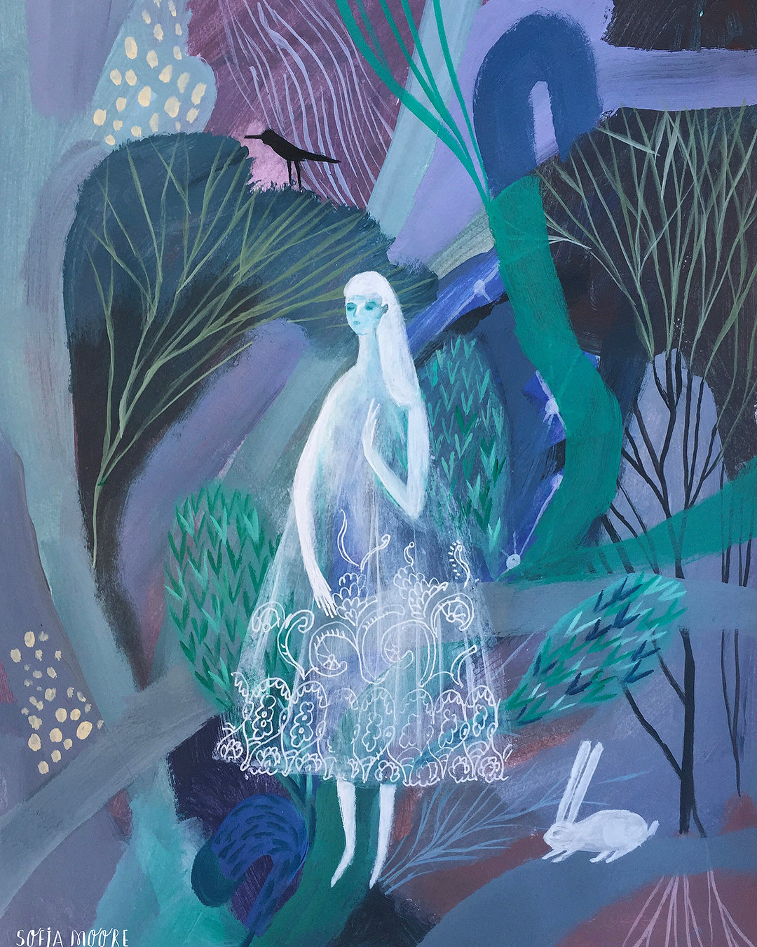 Ghost-Like Figures Traverse Lush Painted Landscapes in Illustrations by Sofia Moore