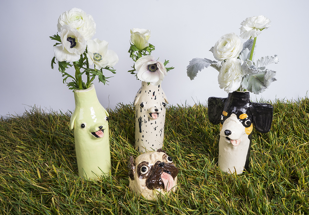Ceramic dog vase by Katie Kimmel