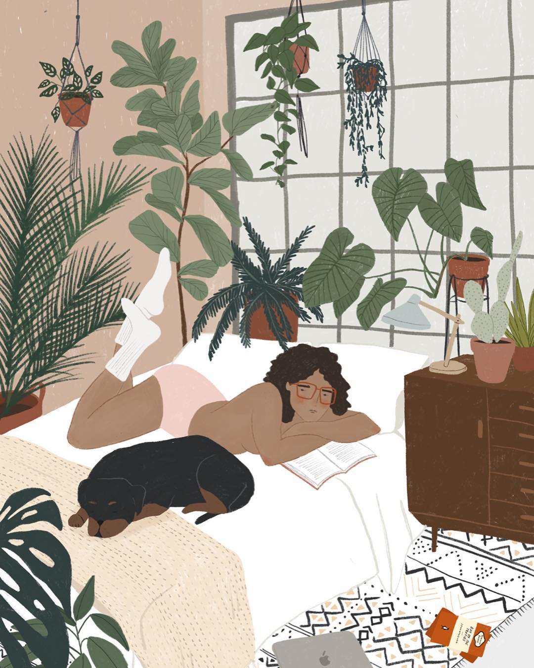 "These Lush ""Plant Lady"" Illustrations are Alone Time Done Right"