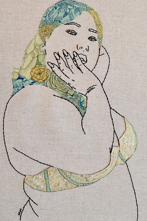 Appliqué embroidery of women by Meghan Willis