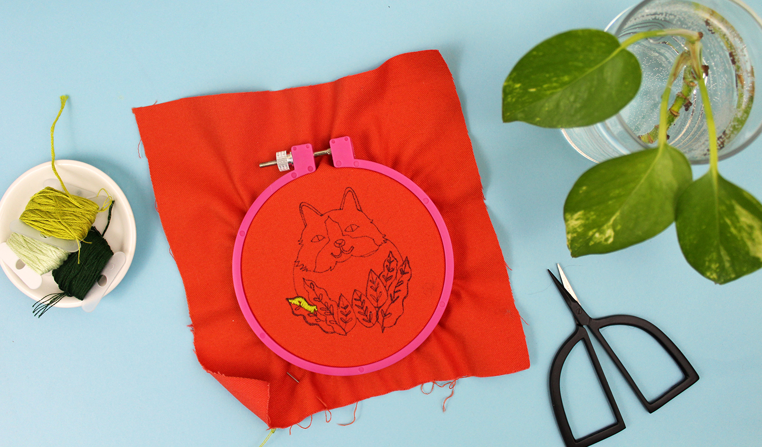 Cat embroidery in progress