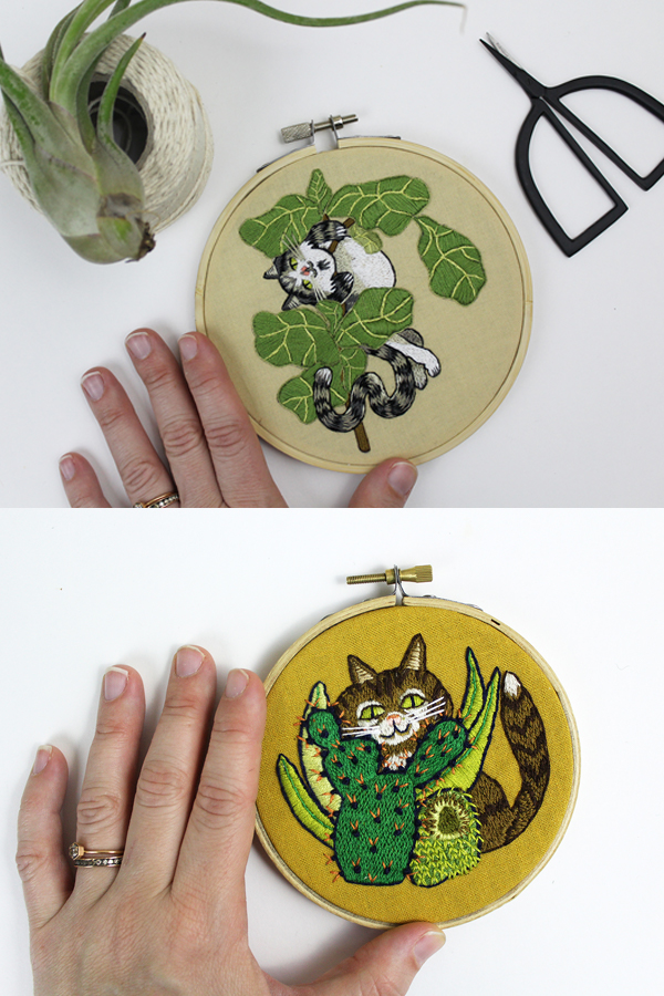 Plant and cat embroidery