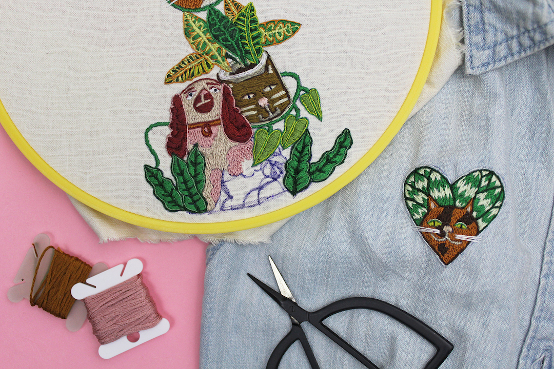 "Studio Check-In: ""1 Year of Stitches"" Progress + New Plant and Cat Embroideries"