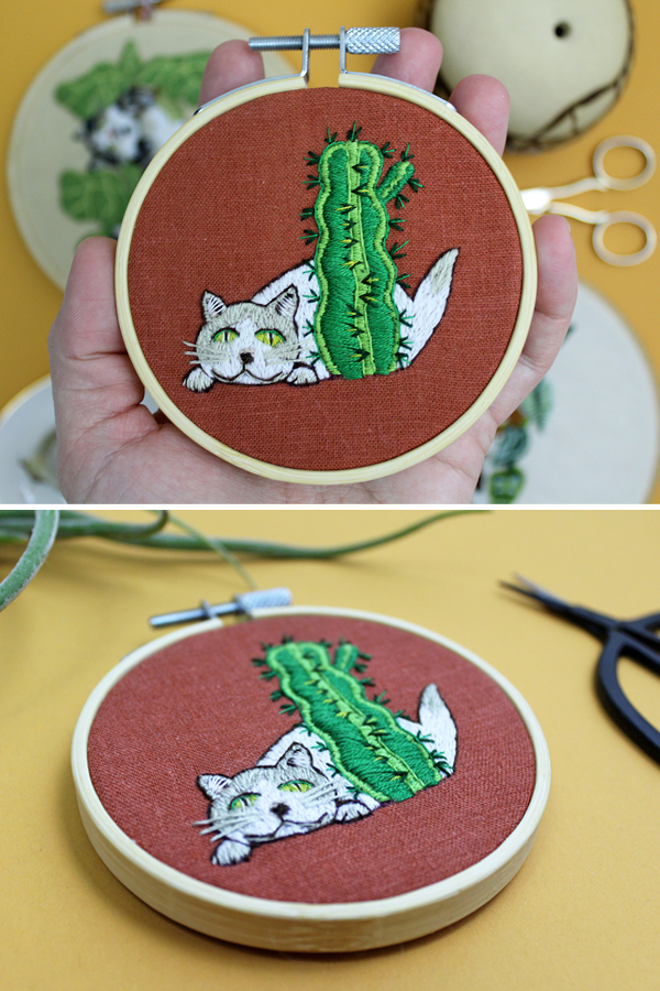 Cat embroidery by Sara Barnes