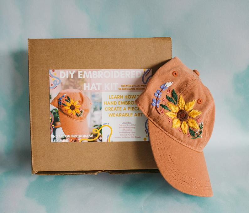 Embroider Your Own Floral Hat With a Handy All-Inclusive Craft Kit
