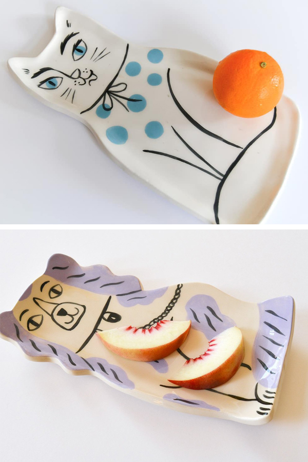 Ceramic animal plates by Livia Coloji