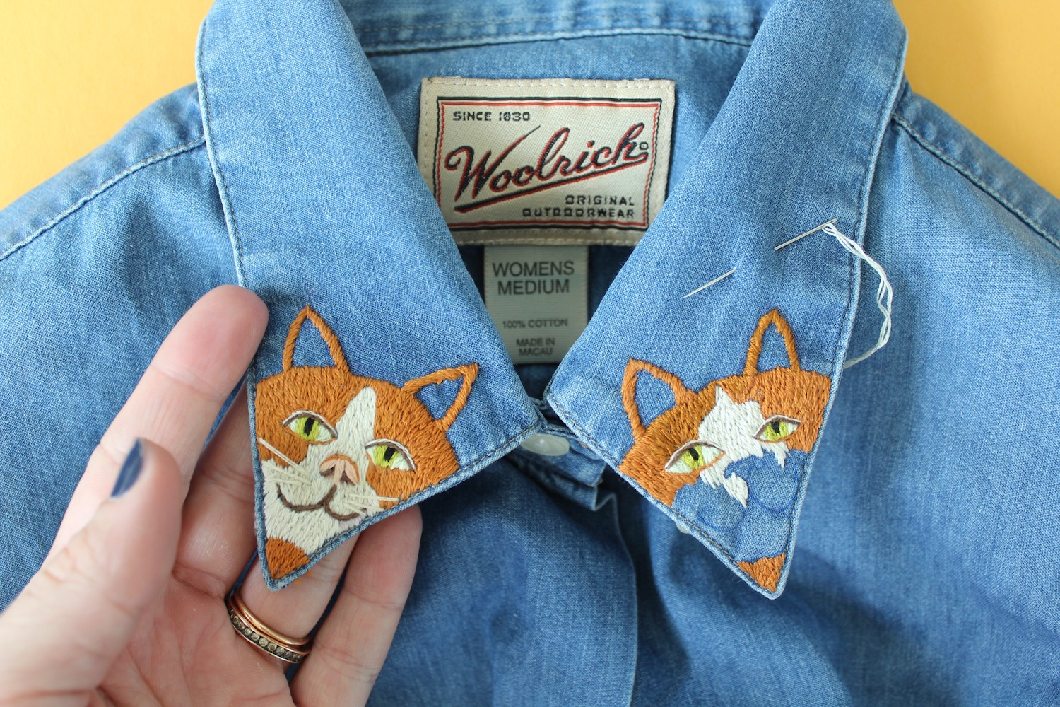 Embroidered cat clothing