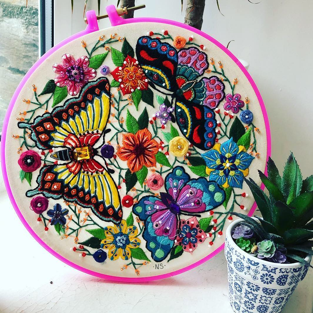 Contemporary plant embroidery