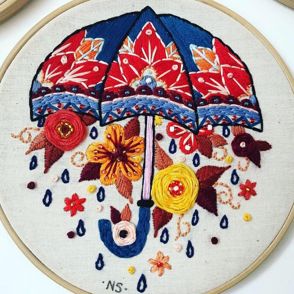 Embroidery inspired by tattoos by Natalie Sedgewick