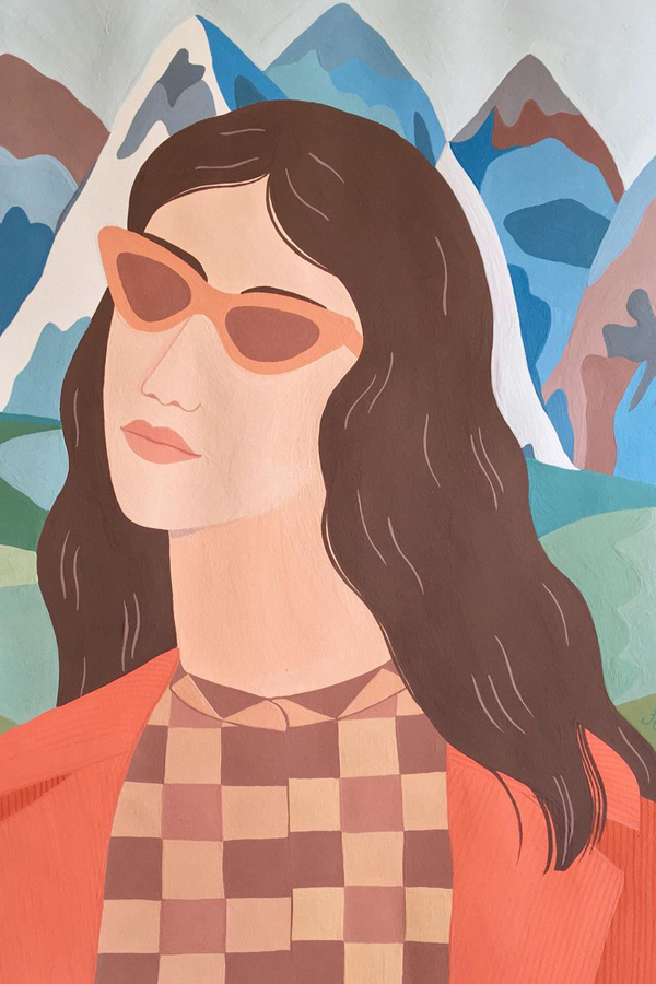 Painted portraits of women by Carine Arnakis